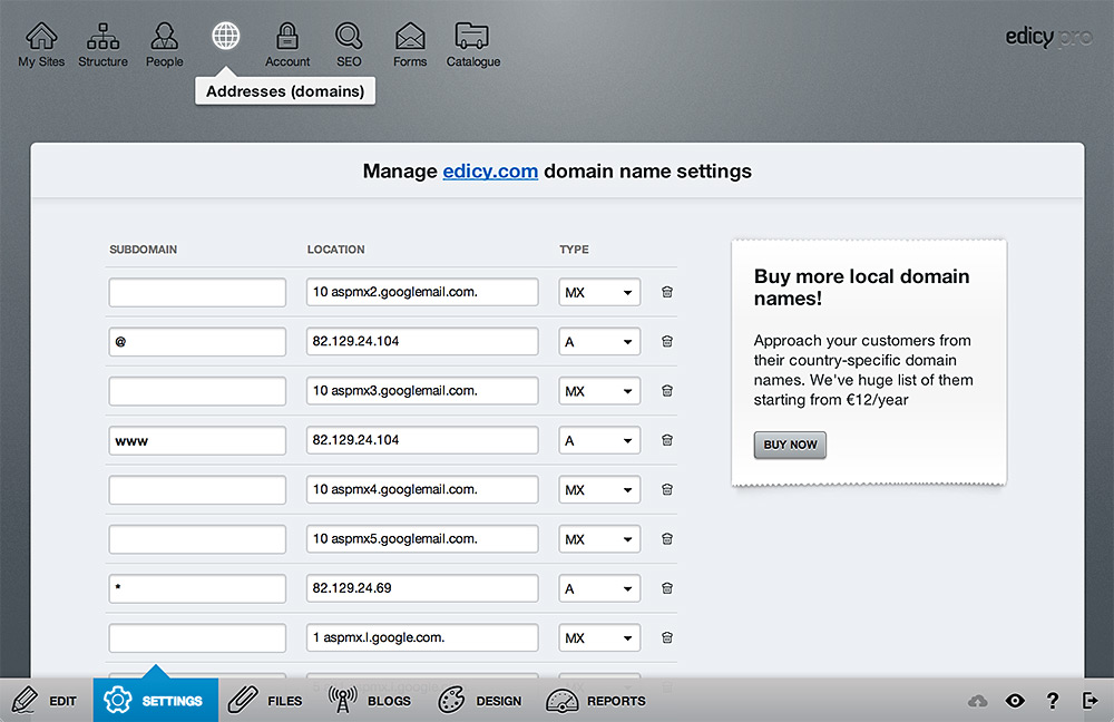 Edicy DNS manager