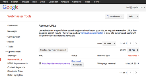 Reincluding removed url in Google